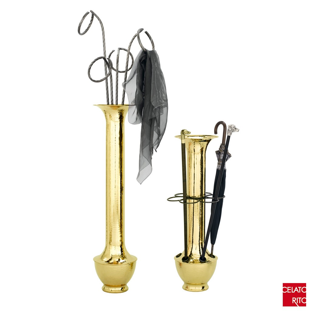 Brass coat hanger and umbrella stand TRENTO