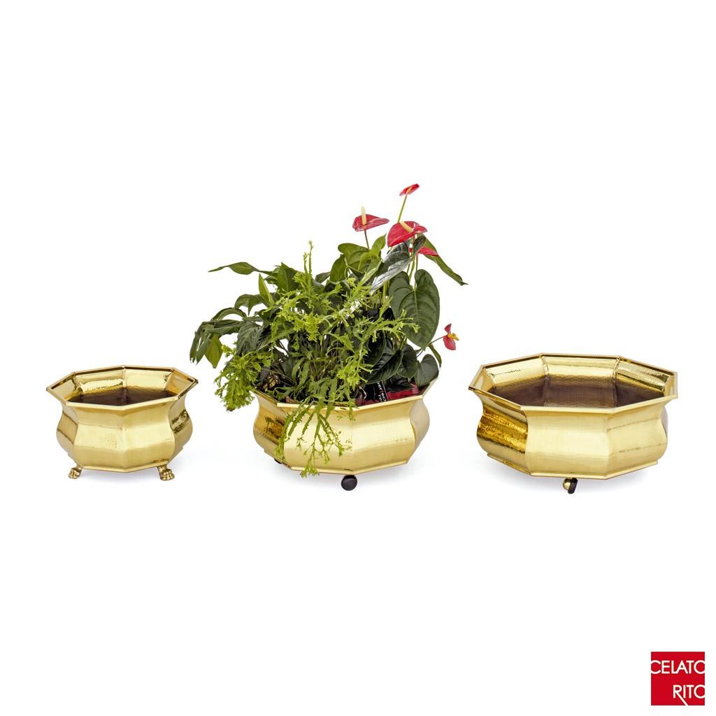 Brass-planters OTTAGONALI SVASATE
