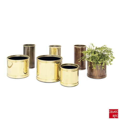 Brass and copper planters TRECCIA collection