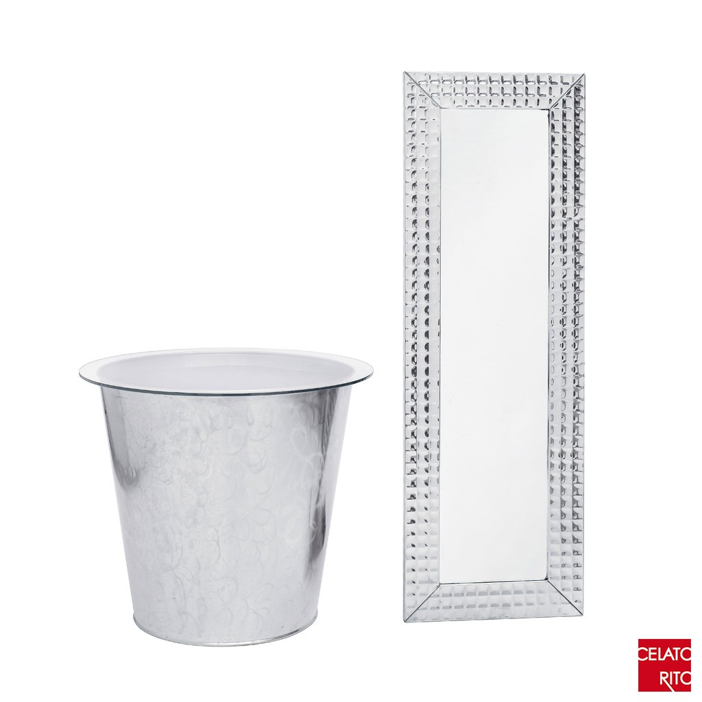 Vase, table and mirror in steel