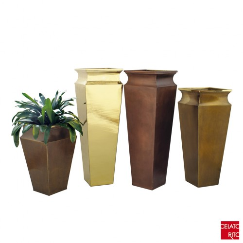Copper and brass planters OBELISCO